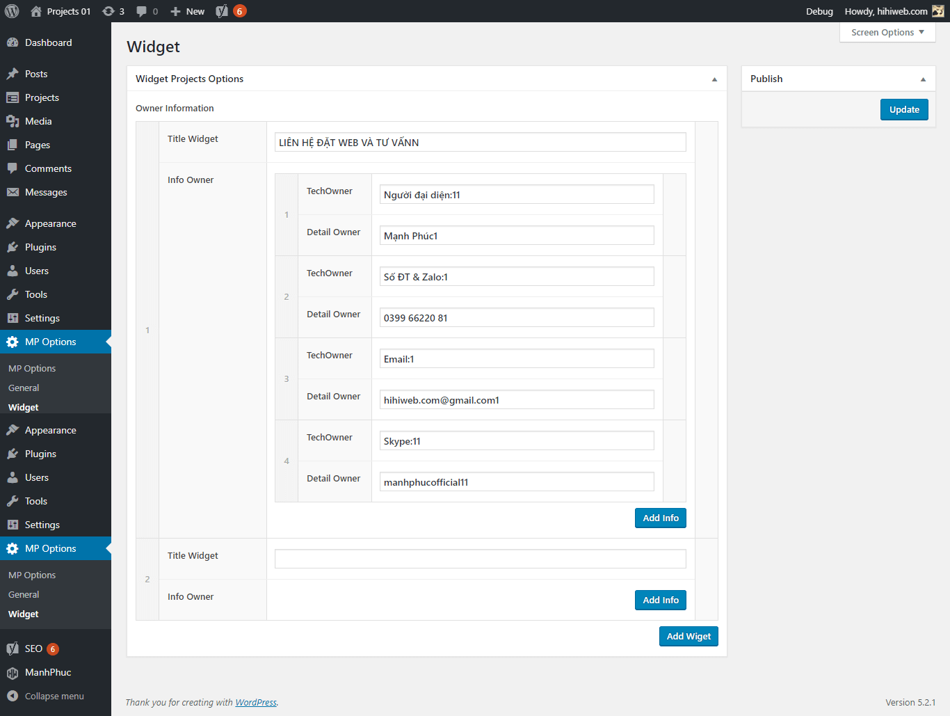 Sidebar Projects Options
