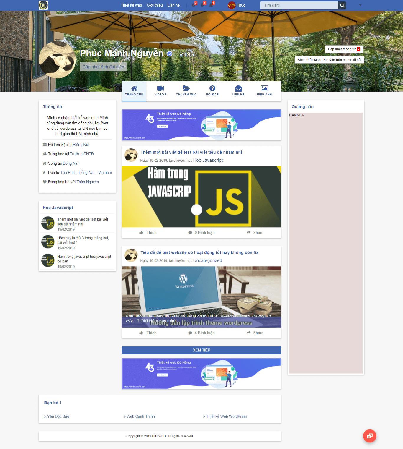 Website blog giống facebook giao diện trang archive