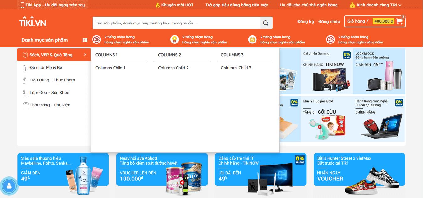 Mega menu website bán hàng chuyên nghiệp