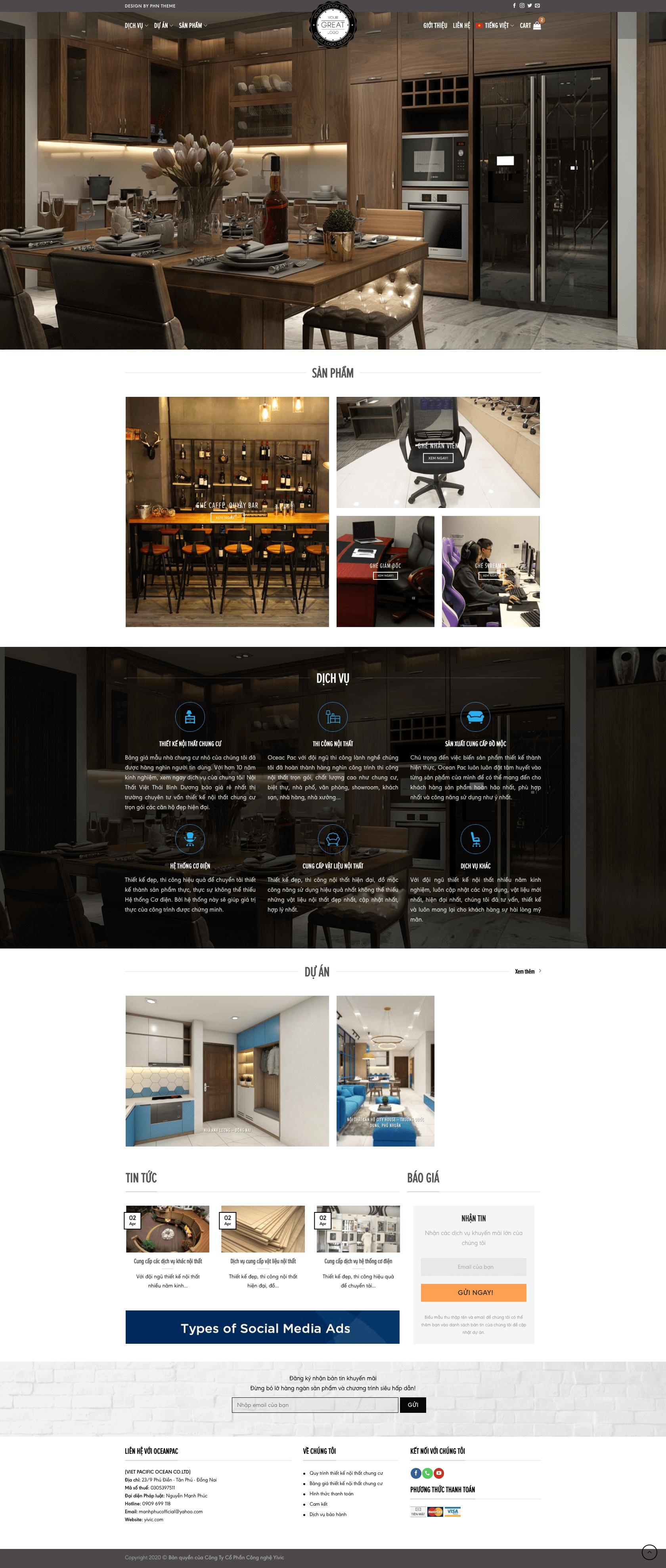 Thiết kế website nội thất, công ty thiết kế nội thất