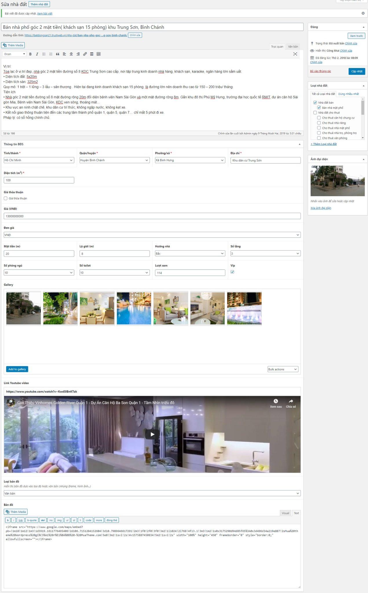 Hình 2: Trang tin đăng bất động sản