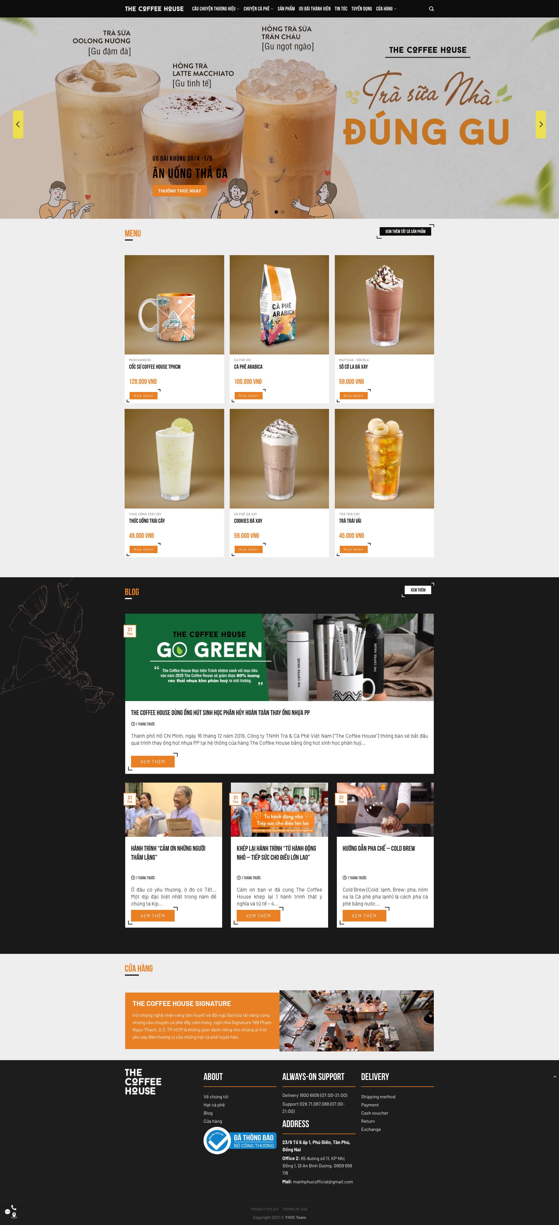 Thiết kế web bán cà phê, gia vị, dụng cụ, nước ngọt online