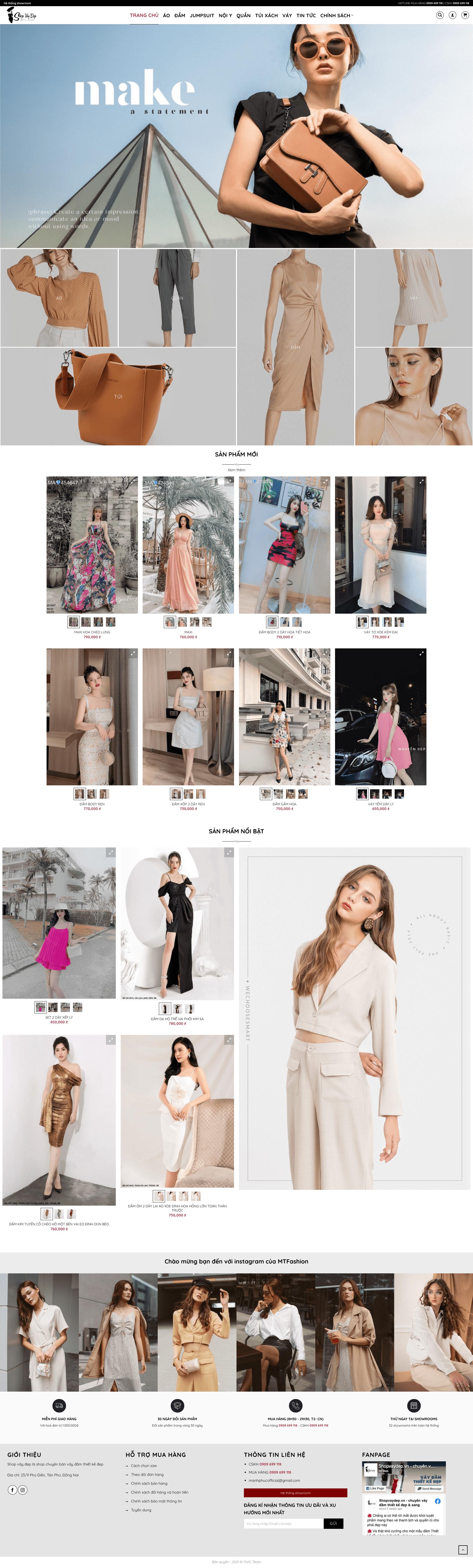 Thiết kế website của hàng bán váy, quần áo MS01